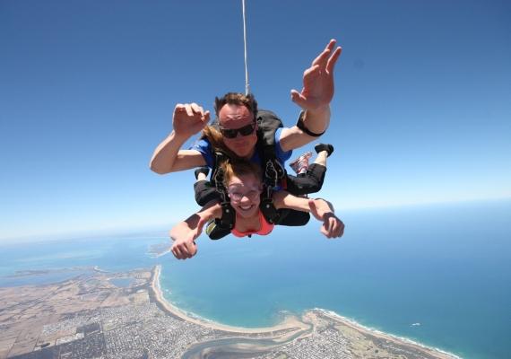 sky diving over Great Ocean road