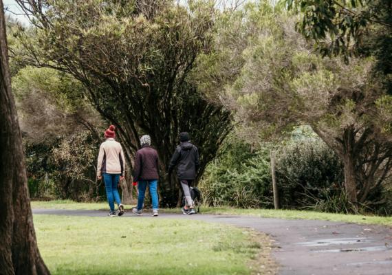 three women walking in park